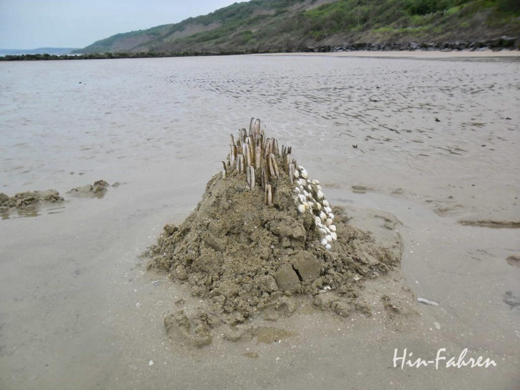 Normandie mit Wohnmobil: Mit Muscheln geschmückte Sandburg am Strand von Houlgate