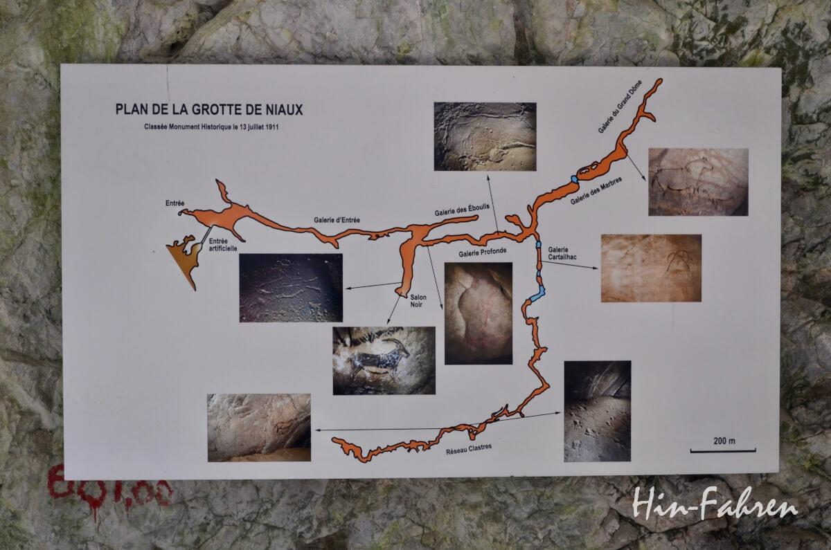 Plan der Grotte de Niaux mit Angabe der Standorte der Malereien