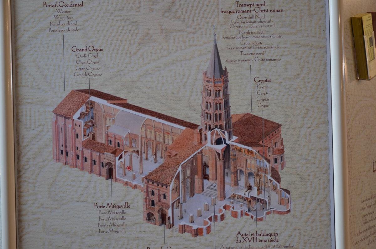 Gezeichnetes Modell der Basilika Saint-Sernin