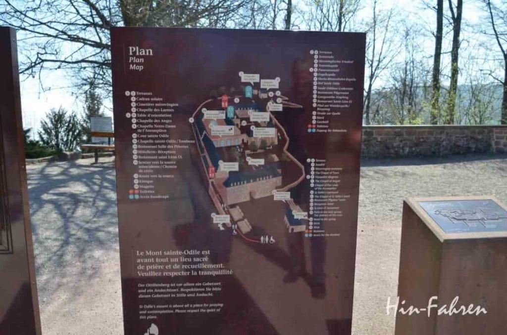 Odilienberg: Schild mit Klosterplan