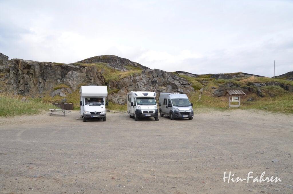 Wohnmobilstellplatz an der norwegisch-russischen Grenze