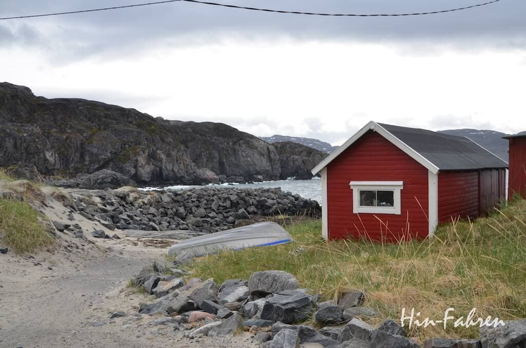 Meer und Fischerhütten in Grense Jakobselv