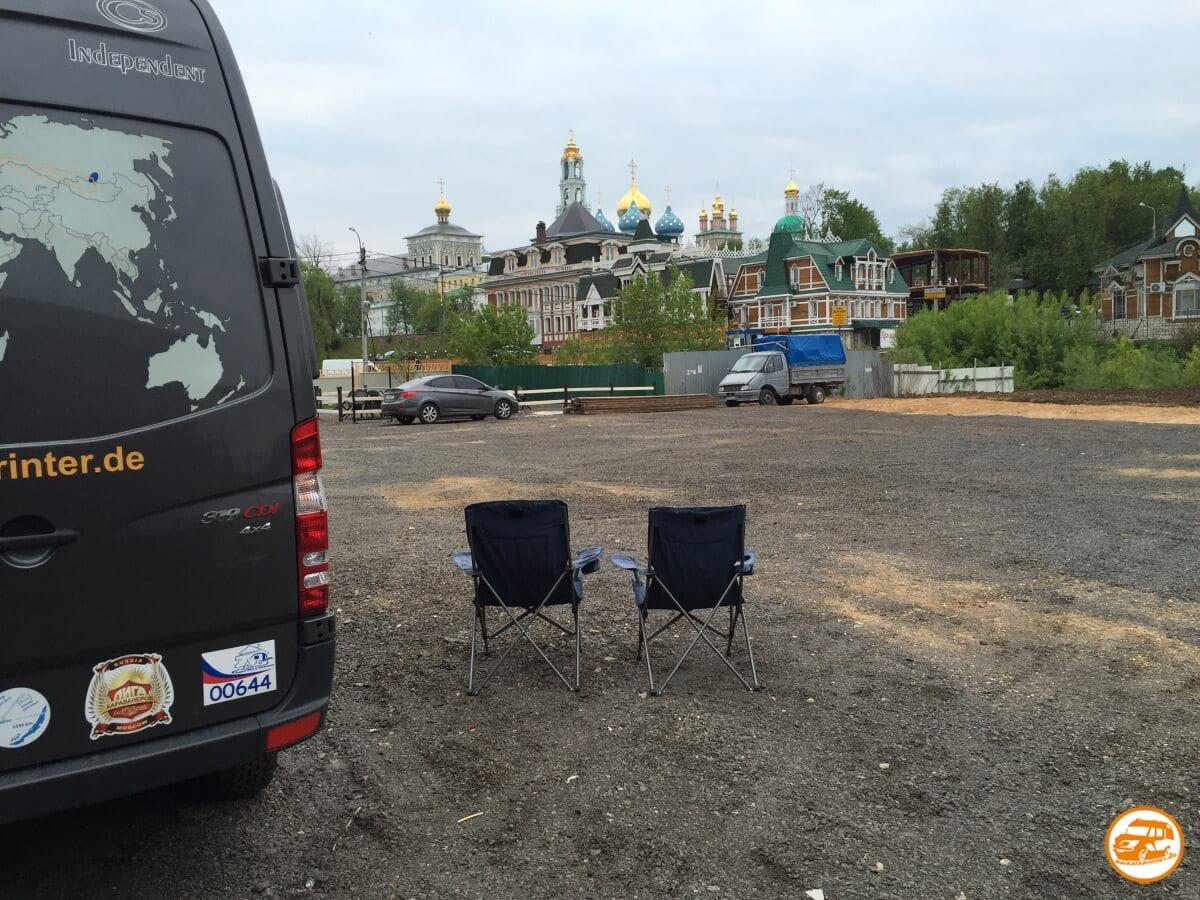 Pause mit dem Kastenwagen in Russland