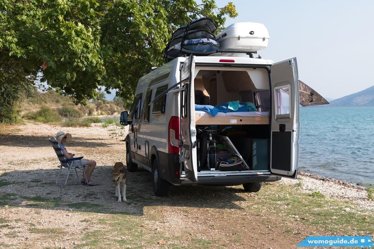 Kastenwagen Knaus Boxlife direkt am Wasser
