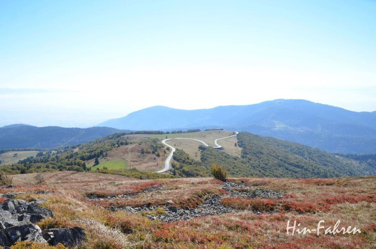 Die Route des Cretes führt durch Hochweiden und Wald