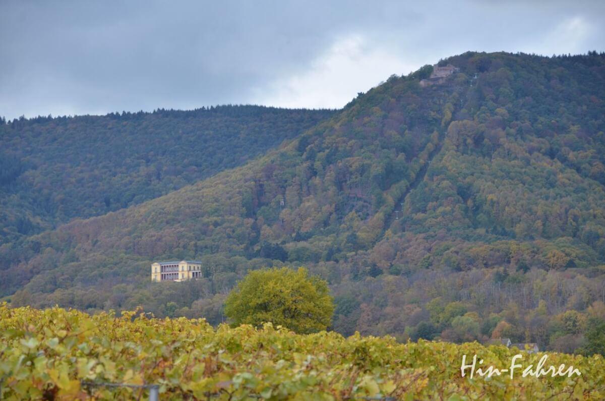 Blick von Edenkoben auf das Schloss und die Burg