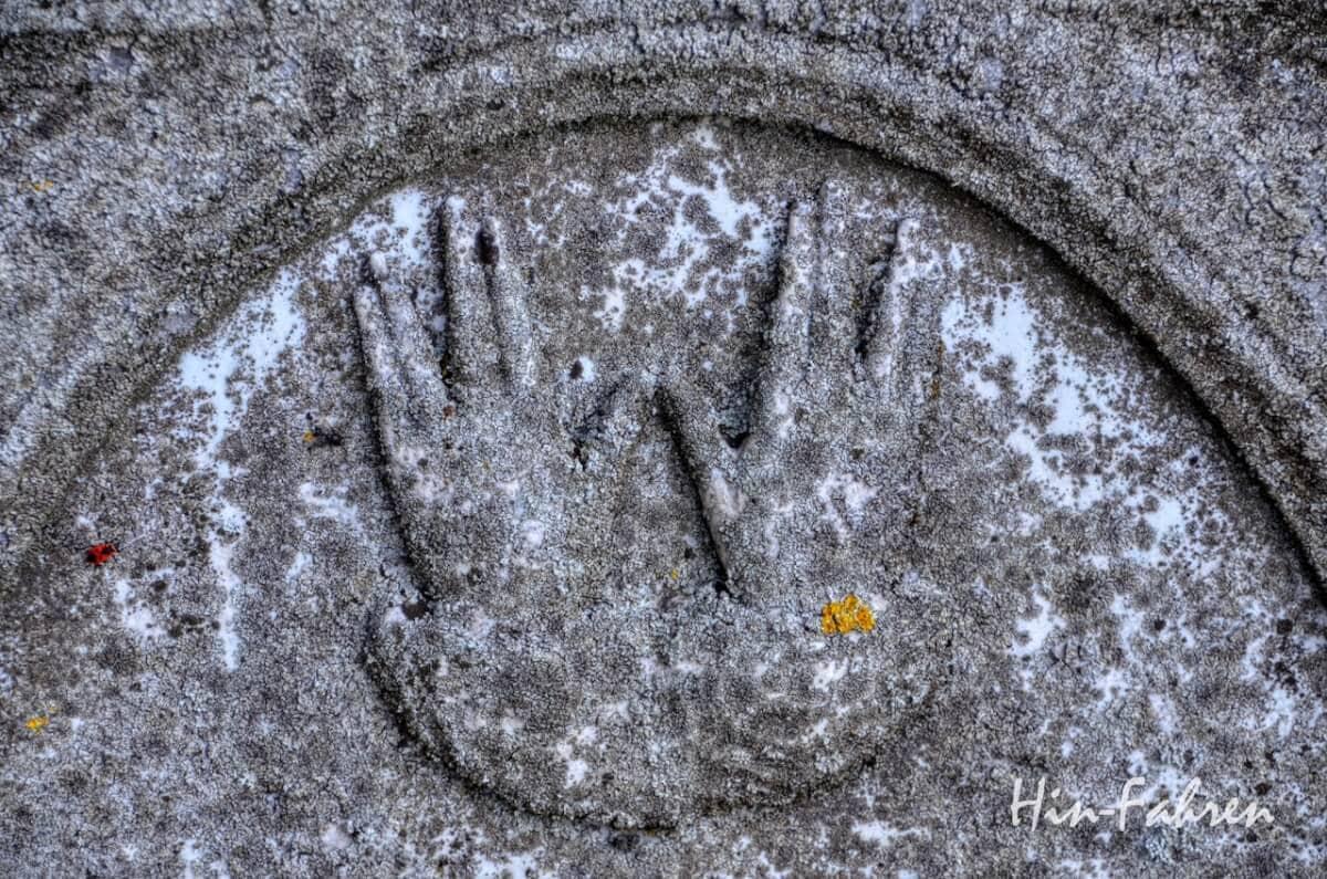 Lieblingsbilder Pfalz: Hände und Käfer auf einem Grabstein