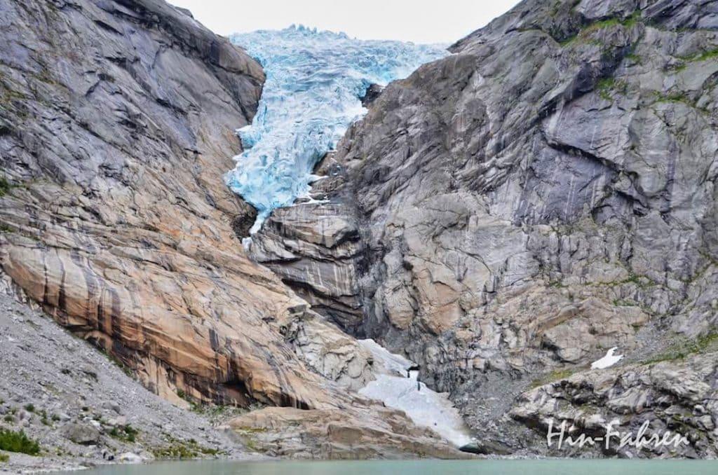 Ein Highlight unserer Fahrt durch Norwegen mit dem Wohnmobil war der Gletscher Briksdalsbreen