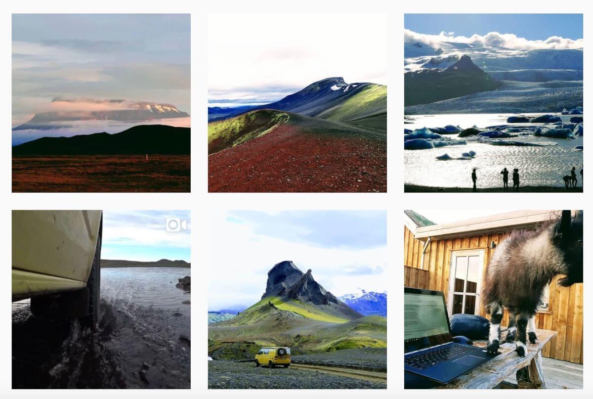 Grandiose Landschaft und VW Bus auf Island