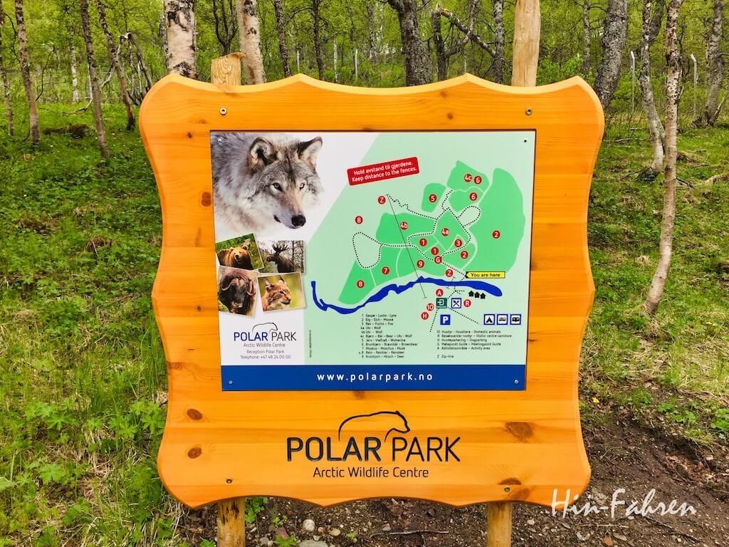 Karte des Polar Park mit den Tiergehegen