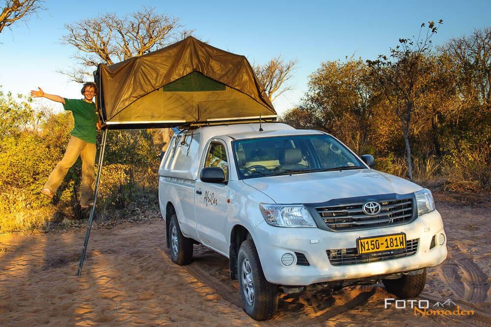 Dachzelt-Camper in Afrika