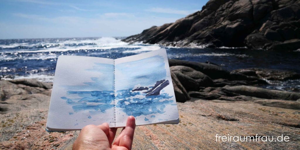 Aquarell und Foto Meeresbucht