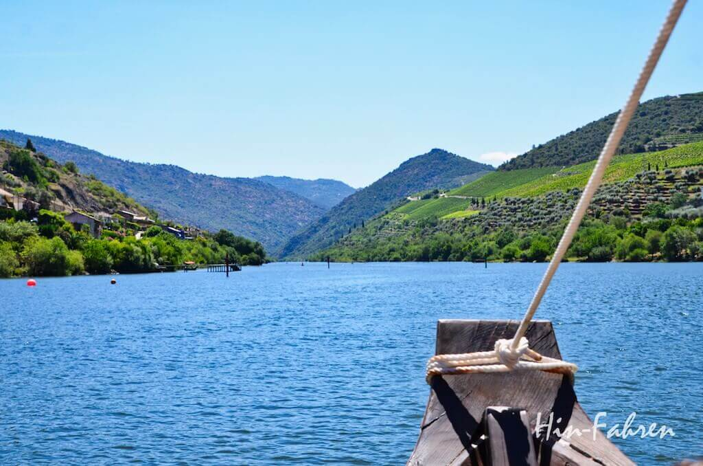 Blick auf die Weinberge am Douro vom Boot aus
