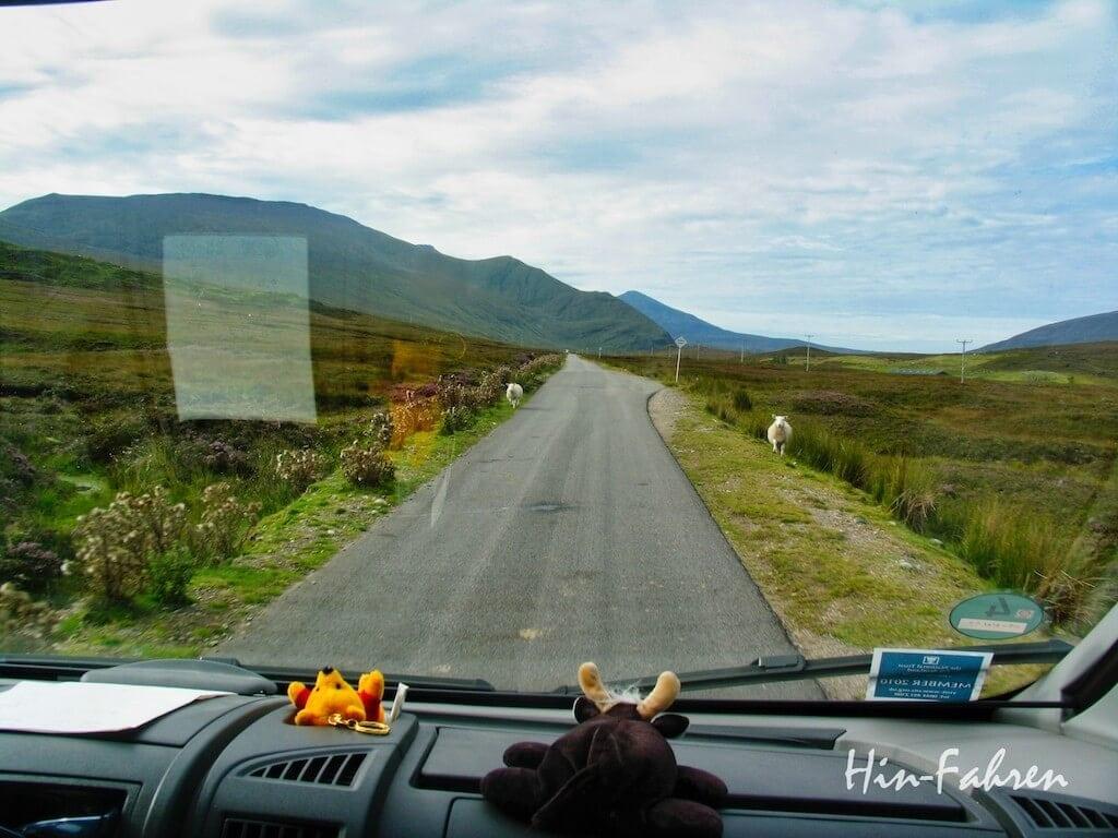Unterwegs im dem Wohnmobil in Schottland auf einer Single Track Road