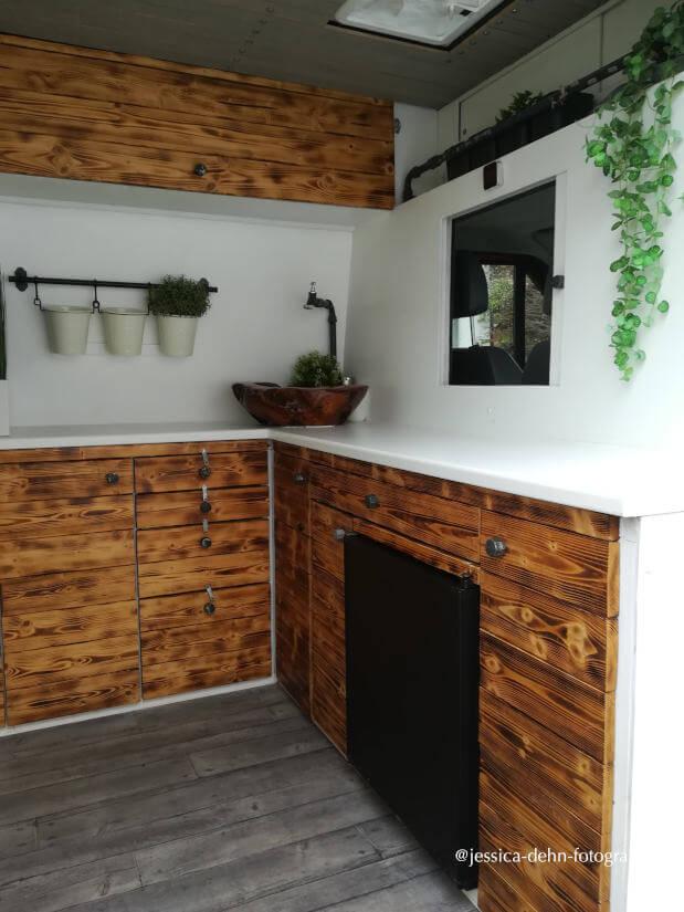 Kastenwagen Wohnmobil: Blick in den Innenraum