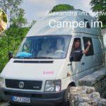 Kasten mit Inhalt: Alexandra mit Familie im VW LT von Schwabenmobil