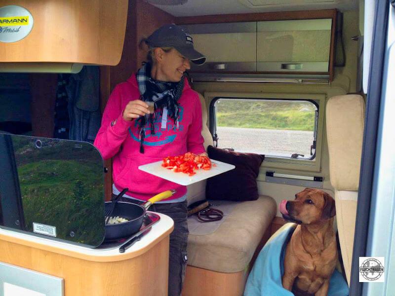 Frau und Hund im Kastenwagen