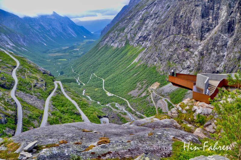 Traumstrassen Norwegen: Blick auf die Landschaftsroute Trollstigen