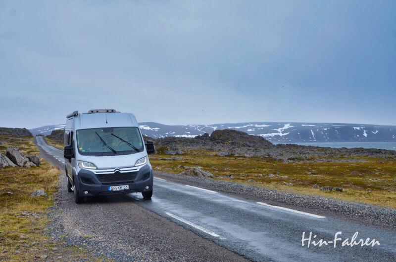 Wohnmobil in Norwegen auf der Landschaftsroute Varanger
